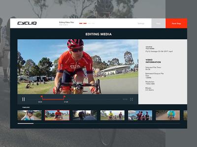 Bike Camera video editor ui video bicycle editor sensor interface guide flat devices