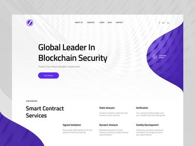 Blockchain security company landing page landing design grid layout clean purple branding security minimal web mistyukevych