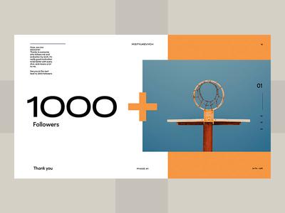 Thank you! 1000 followers web ui minimal layout mistyukevych flat followers design dribbble