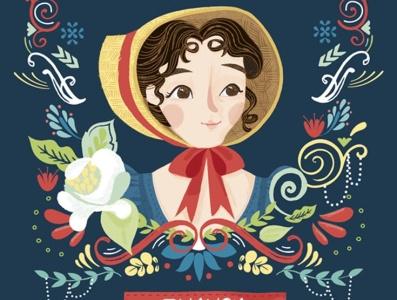 Jane Austen Pride and Prejudice Book Cover kids illustration kidlitartist kidlitart portrait people illustration people floral decorative border cover art book cover vector bright colours illustration