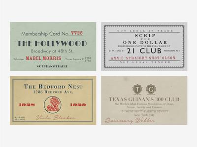 Speakeasy Membership Cards identity event 1920s cards typography