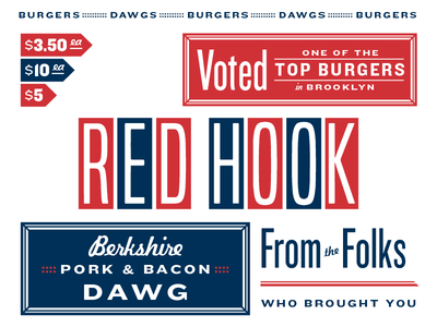 Burgers & Dawgs Elements menu americana knockout design logo typography branding