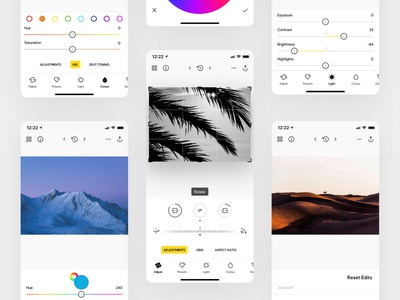 Photo Editor • light mode darkmode photograph camera photo studio clean ios app ios photo editor photography