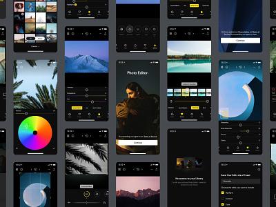 Photo Editor • Screens clean flat dark photo app photography ios app ios camera photo editor ui