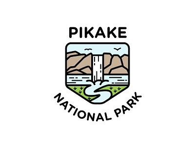 Pikake National Park waterfall land water park logo