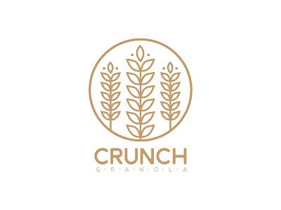 Crunch tan brown logo crunch wheat granola