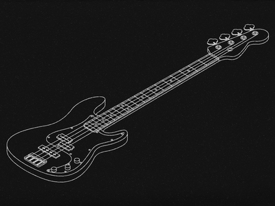 Squier Affinity Precision Bass - Isometric Illustration blueprint illustration isometric bass guitar squier fender