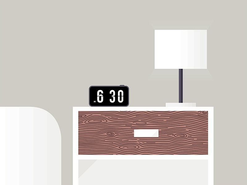 Morning vector illustration bed morning furniture nightstand minimalist