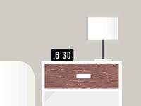 Morning vector illustration bed morning furniture nightstand minimalist
