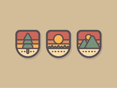 Nature Badges thick lines patch tree nature vintage retro icon