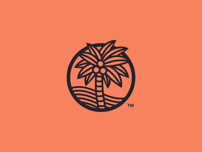 Palm Tree Concept illustration logo icon desert ocean beach palm tree