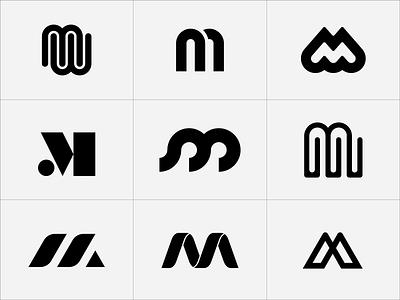 M Marks retro lettering logo logomark letter mark m
