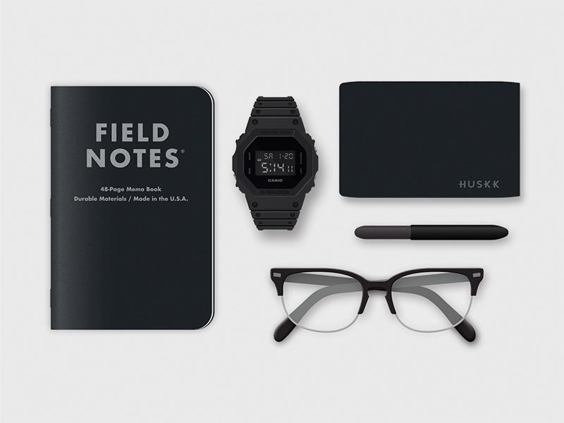 My Everyday Carry photorealistic illustration matte black minimalist field notes g-shock edc