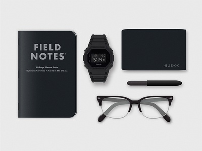 My Everyday Carry photorealistic illustration matte black minimalist field notes g-shock edc