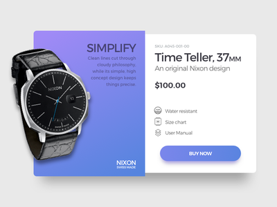 Daily UI Challenge 018 - Product Card nixon daily ui product card uiux ux ui