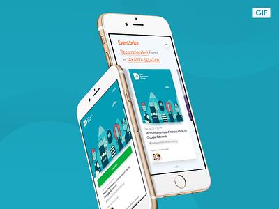 Eventbrite Redesign Concept event card giff animation app ui