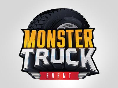 Monster Truck Event type typography metal wheel tire exhaust vector logo illustrator event truck monster