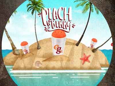 eegee's Peach n' Berry Spot  eegees palm trees ocean illustrator photoshop island peach textures beach illustration