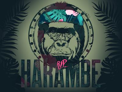 RIP Harambe pink photoshop. green illustrator jungle gorilla harambe