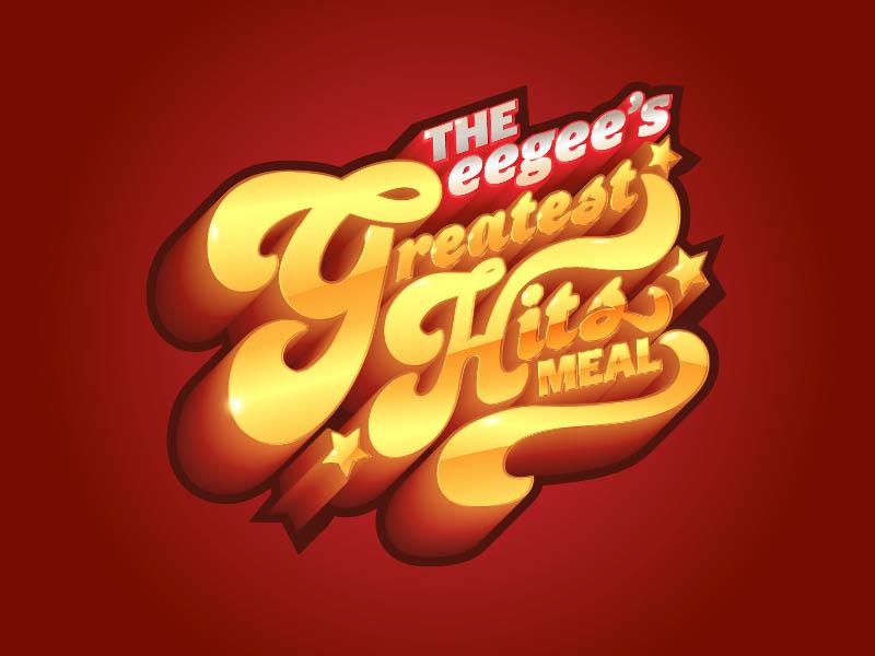 Greatest Hits Meal Logo 70s illustrator metallic retro greatest hits logo