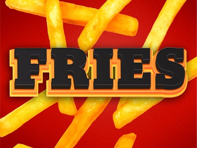 Fries type yellow orange red photoshop illustrator fries
