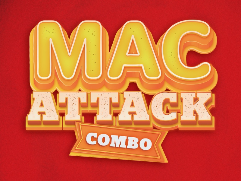 Mac Attack type orange yellow red attack macaroni 3d illustrator