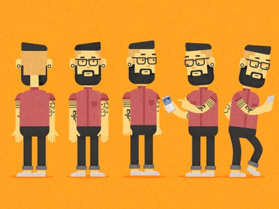 Trendy Millennial illustrator photoshop tattoos trendy cellphone hipster character design