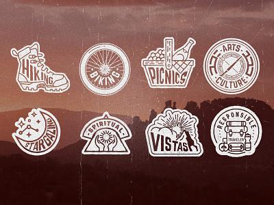Sedona Secret 7 Icons responsible traveler vistas spiritual stargazing culture arts picnics biking hiking sedona illustrator icons