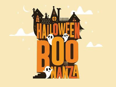 Halloween Boonanza haunted house haunted moon stars clouds boo ghosts halloween illustrator