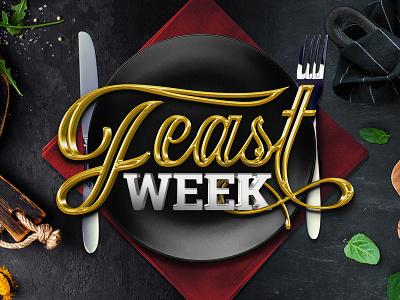 Feast Week Logo photoshop illustrator foodie napkin plate knife fork week feast food