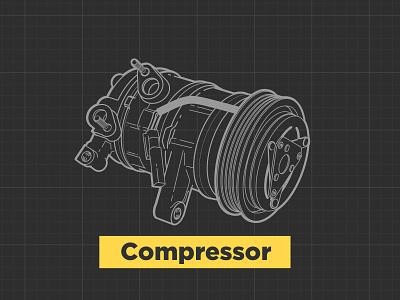 A/C Components illustrator intructional automotive components condenser accumulator compressor car parts air conditioner