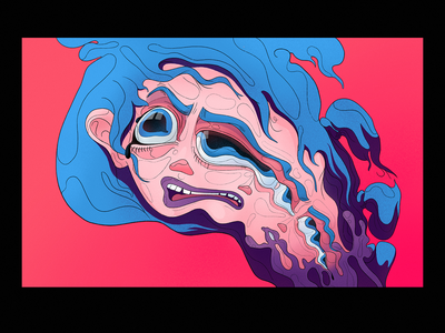 Multiply expressive weird dynamic toxic face girl design character graphic illustration