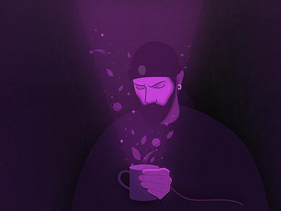TeaTime light magic guy neon tea stars space night noise design graphic illustration