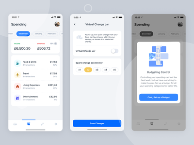 Cede Bank - Track Your Spending finance app mobile app analytic insurance ux blue clean ios ui