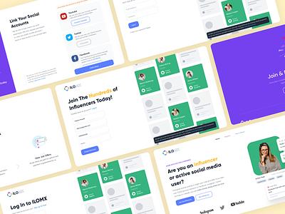 ILOMX - Influencer Hub Redesign Concept purple redesign website design influencers landing page clean ui