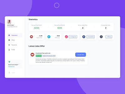 ILOMX - Influencer Hub Dashboard Page statistic website influencer design dashboard blue clean ui