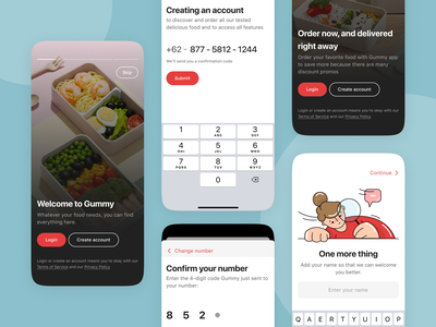 Gummy - Caterers Food App caterers food app app mobile app mobile ui design ios clean ui