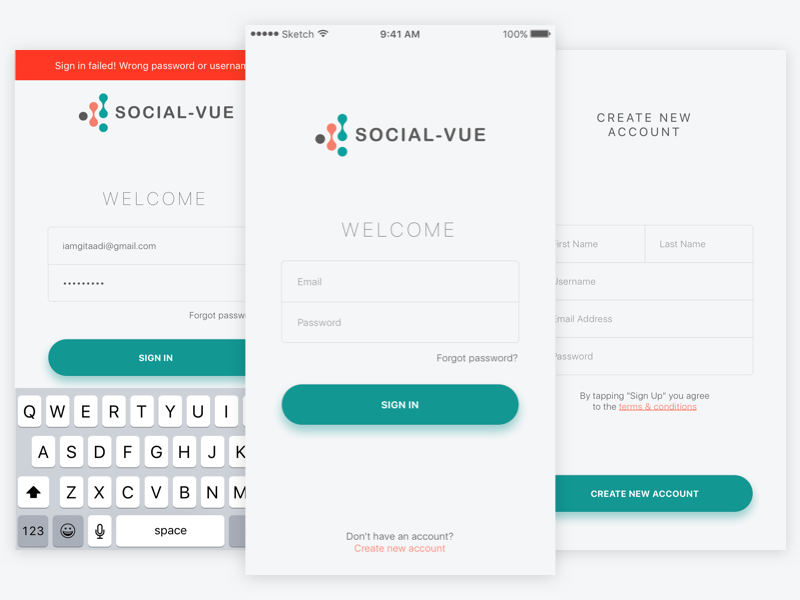 Free Sketch - Simple Sign in & Sign up Screen login signup signin interface space ios ux ui
