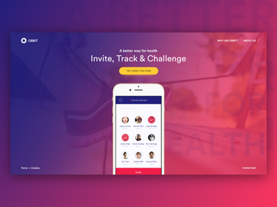Daily UI Challenge #003 — Landing Page orbit track run health track app landing page