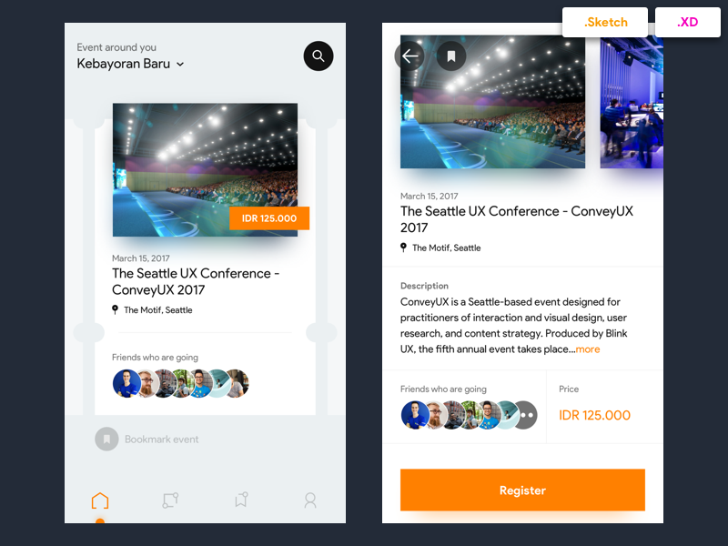 Eventbrite Redesign Concept - Free Sketch and XD Files ui app event orange card detail freebies