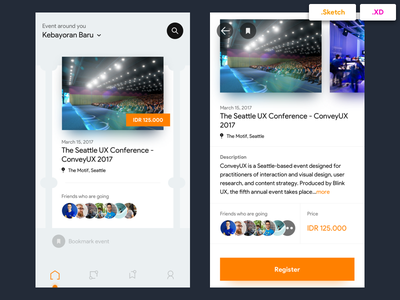 Eventbrite Redesign Concept - Free Sketch and XD Files ui app event orange card detail freebies