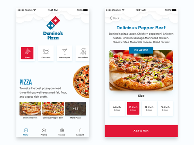 Dominos Pizza Redesign Concept order red blue inspiration food app uiux restaurant food pizza dominos pizza
