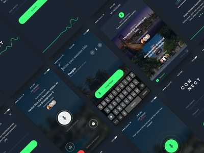 Connect - Live Video Streaming App green live video streaming ios uiux dark ui connect
