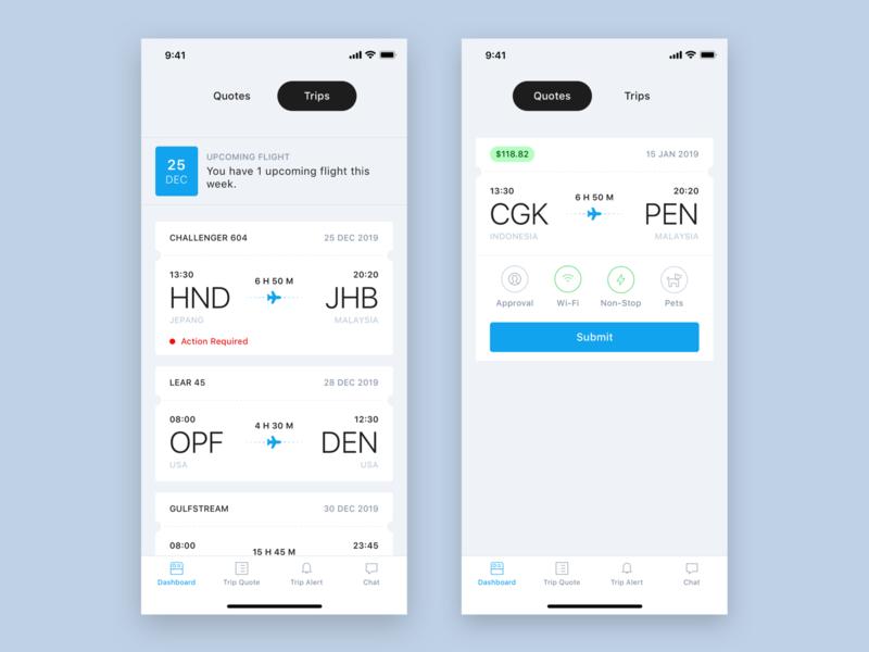 Aircraft Charter Design Concept flight app ios clean blue ux ui