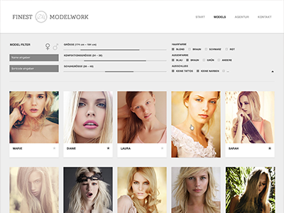 FM Website finest modelworks model agency website fireworks layout web online setcard filter