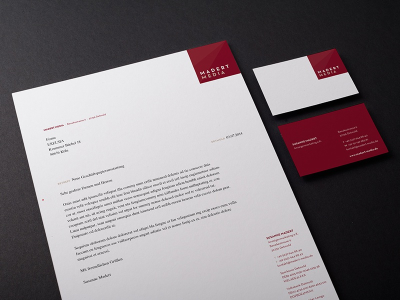 Madert Media Print matert design media wine red corporate logo business card letter bill detmold