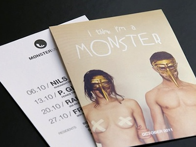 MONSTER MUSIC Flyer flyer monster music party electronic cologne rose club mask golden