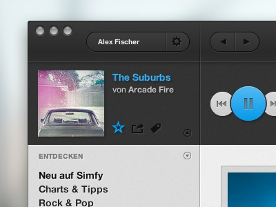 simfy Mac App Redesign music rdio spotify streaming redesign desktop app player simfy mac play button ui interface cover