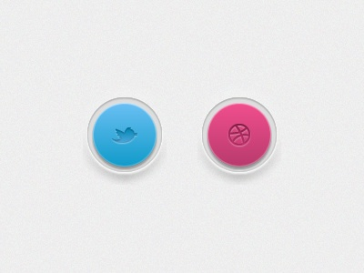 twitter & dribbble dribbble button ui twitter pink blue interface