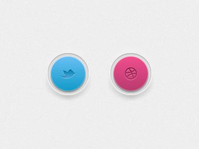 twitter & dribbble dribbble button ui twitter pink blue interface